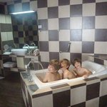 Bathroom in the extra large room with models