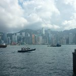 Busy Victoria Harbour with high rise views of Hong Kong Island