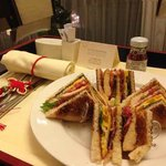 Room service - delicious club sandwich