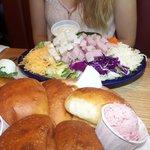 House salad and dessert like rolls