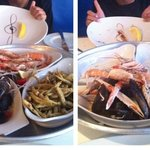 before and after seafood platter. Incredibly fresh and tasty.