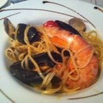 small serve of seafood linguine - flavoursome and generous seafood portion