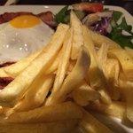 Gammon Steak, fried egg, salad and Fries at the Uluru Bar and Restaurant.