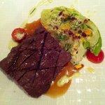 Flat iron steak with iceberg lettuce. Amazing