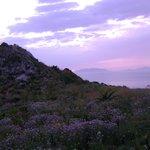 Capo milazzo al tramonto e Isole eolie all'orizzonte