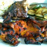 BBQ chicken, Baby back ribs with grilled veggies