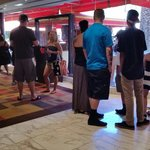 One of the shorter lines to get into the pool, but make sure you have a reservation. There is al