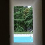 view from the shower to the pool