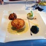 Le plat, saumon épinard purée et quelques légumes