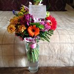 Flowers from our friends from South Africa provide by management,comments wrote by hand-nice!