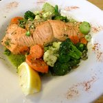 one of the lighter menu options with salmon and sauteed vegetables