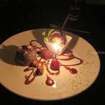 Chocolate lava cake with ice cream.  Excellent.