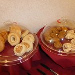 bagels and pastries at the breakfast buffet