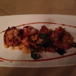 Shrimp with corn hash starter