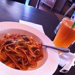 seafood linguine and apple carrot juice