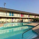 Pool area at the Islander Inn
