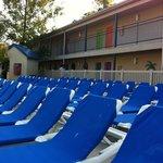 Plenty of lounge chairs for those who like sunbathing!