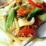 a very big portion of vegetarian chow mein. packed with veggies #VegChowMein