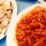 Sweet sour shredded chicken and whole succulent chicken with home made dip