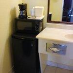 Mini Fridge, Microwave & Coffee Maker