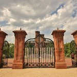 South view of gates from the Smithsonian garden