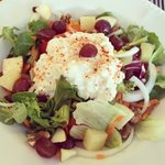 Cottage cheese, fruit and nut salad.