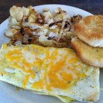 Veggie omelet and home fries