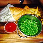 Pasty, chips and peas :-)