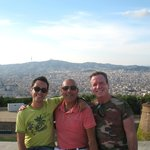 Eloi, Dennis,& Peter at Montjuic Castle with City of Barcelona views in background