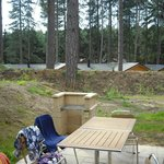 Patio area at the back of 3 bed woodland lodge