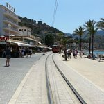 Tram tracks along the sea front.