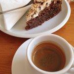 Nuts cake, espresso