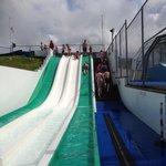 Outdoor pool slides
