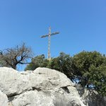 The cross above the monastery