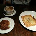 Chicken Friand, French Onion Soup, Potato Pancake