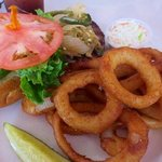 Mexican burger with onion rings