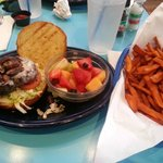 Burger, Fries, and Fruit