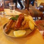 3 types of sausage, sauerkraut, potatoes