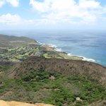 Koko head climb- view from top to sandy beach