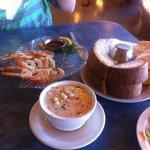 Chowder, fresh bread, shrimp skewers