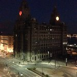 Night view of Liver Building from bedroom window