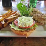 Look at that fresh ahi sesame seed encrusted tuna sandwich! Yum!