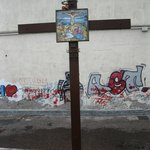 Stations of the Cross as you walk up street to hotel