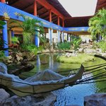 Main reception with a fish pond