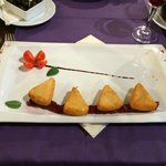 Fried cheese with jam