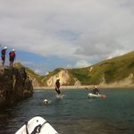 Jumping off the rocks in Man'o'War bay