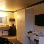 LCD Tv, Mic, and fridge