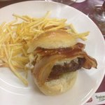 The miniature cheeseburger. Just 1.5€. Delicious tasty mini burger.