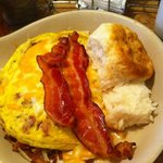 This is the breakfast Skillet, with hash browns, gravy, sausage, ham and cheese!  YUMMIES!!!!!