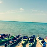 Our kayaks along the shore of Lake Superior. The water was so calm!
